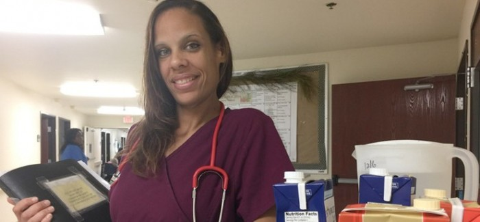 Athena King, a graduate of Senior Care Centers' Certified Nurse Aide training program, now enjoys a new career as a CNA at Park Bend Health Center in North Austin. Photo courtesy of Derek Phillips