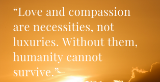 """Love and compassion are necessities, not luxuries. Without them, humanity cannot survive."" Dalai Lama Quote"